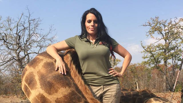 Sabrina Corgatelli poses with her giraffe kill. (Facebook photo)