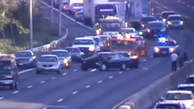 A crash blocked two lanes of I-91 south in Wethersfield Thursday morning. (DOT photo)
