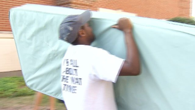 Students, staff were participating in mattress recycling program at CCSU on Friday. (WFSB)