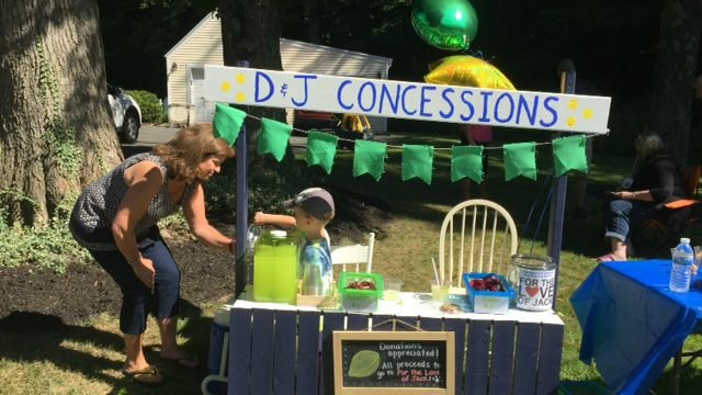 People visiting the Baba boys' lemonade stand. (Chelsea Richard)