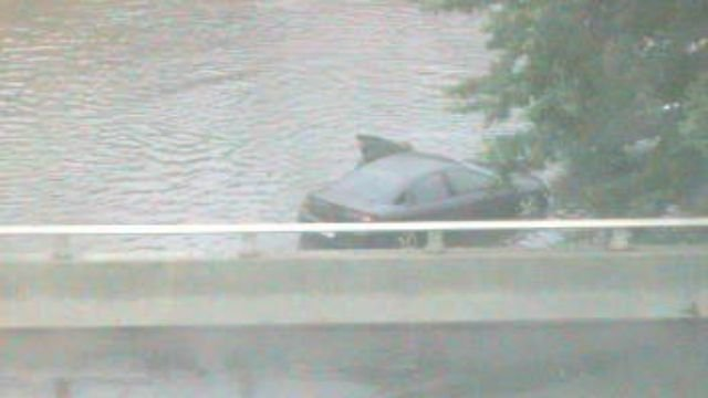 A car was spotted in the water off Interstate 95 in Stratford. (DOT)