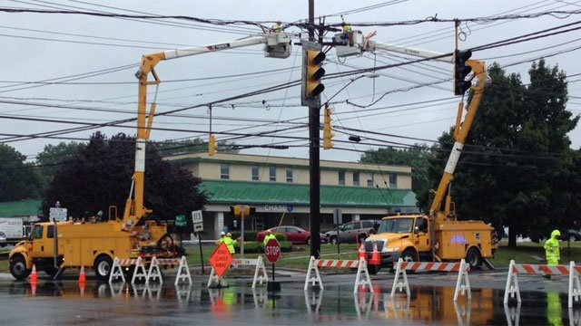 In Stratford, there were downed wires. Main Street is closed at Barnum Avenue. There were lights out for many businesses on this block. (WFSB)