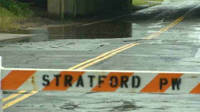 Flooding closes roads in Stratford (WFSB)