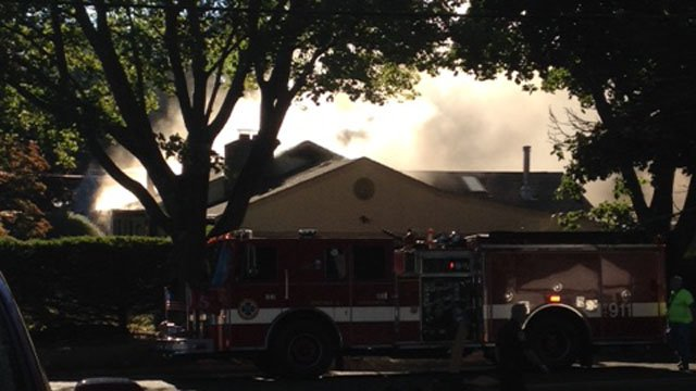 A son and his mother had to be transported to Bridgeport Hospital after this fire in Ansonia. (iWitness photo)