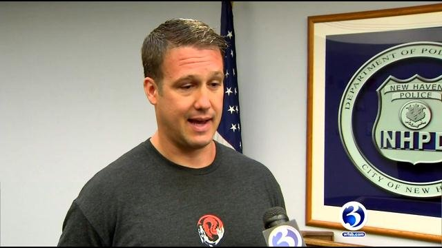 New Haven Police officer Christian Bruckhart was honored for saving a man's life. (WFSB)