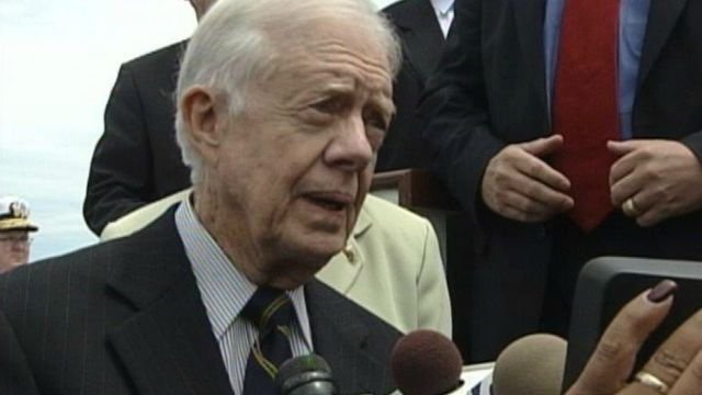 Former President Jimmy Carter visited Groton for the submarine's christening. (WFSB file)
