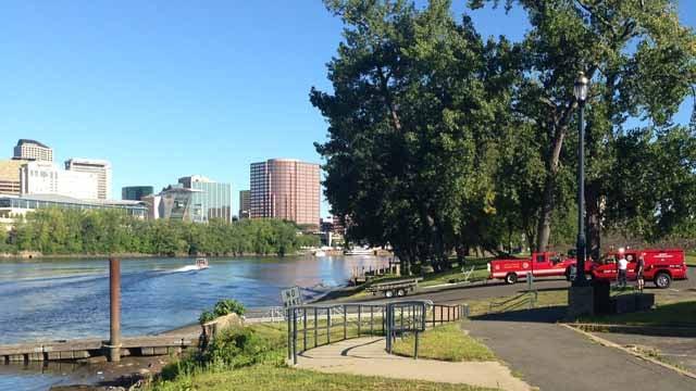 A water rescue was under way near Riverside Park in Hartford. (WFSB photo)
