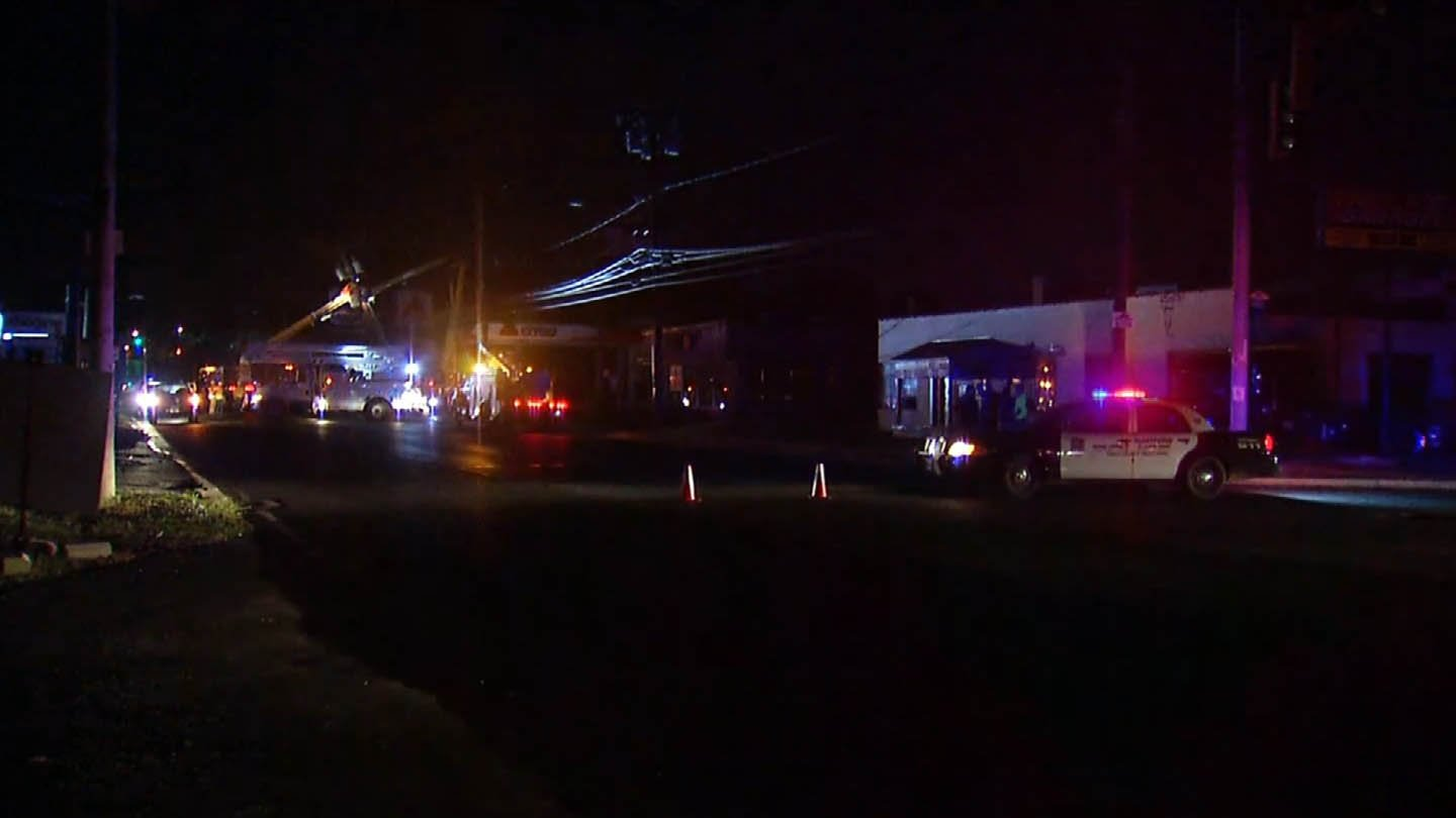 A crash closed Airport Road in Hartford overnight. (WFSB photo)
