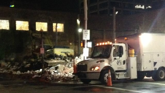 The building at Chapel and Orange streets in New Haven has been demolished. (WFSB)