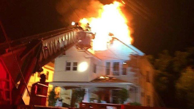 Lightning was deemed the cause of a fire in Hartford Saturday night. (Hartford Fire Dept. photo)