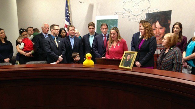 The family of Jesse Lewis joined Sen. Richard Blumenthal in the spring to announce the Jesse Lewis Empowering Educators Act. (WFSB file photo)