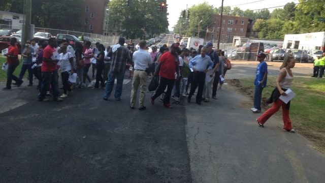 Groups of people spread out and searched Keney Park for 23-year-old Tashauna Jackson. (WFSB)