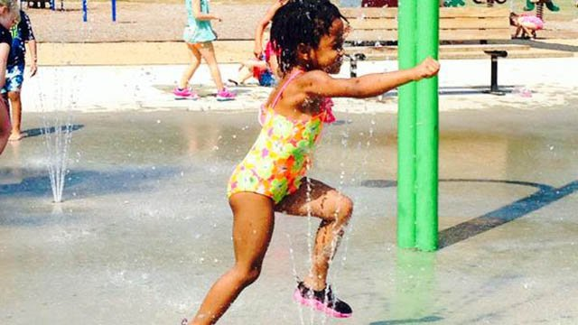 Beating the heat at the Plainville splash pad. (WFSB photo)
