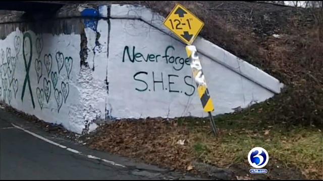 Sandy Hook bridge memorial painted over (WFSB)