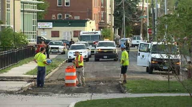 Crews struck a gas line on Bedford Street Wednesday afternoon (WFSB)