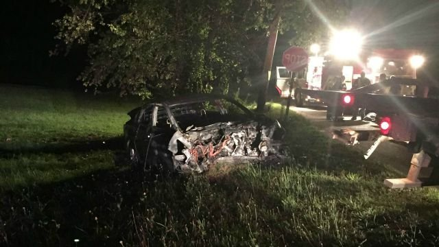 A 19-year-old was seriously injured after a car crash and fire in Woodbridge. (Woodbridge Police Department)