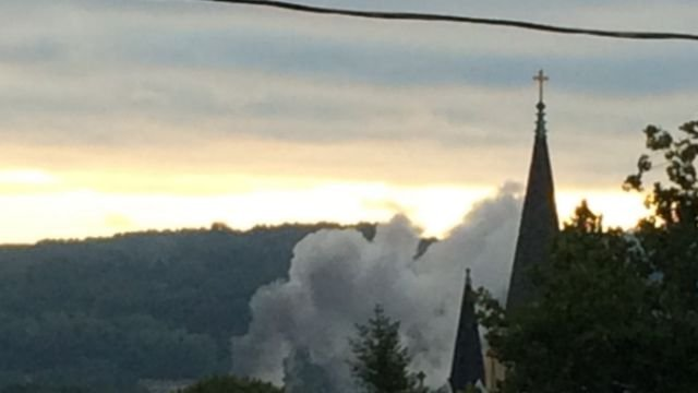 Smoke  from the fire in Derby was seen as far away as Shelton. (WFSB viewer Larry)