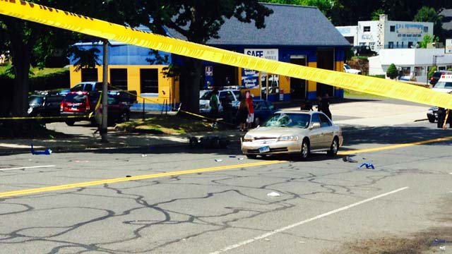 A moped crash closed East Main Street in Meriden Wednesday afternoon. (WFSB photo)