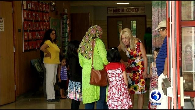 New Britain held a back to school breakfast for students on Thursday. (WFSB photo)