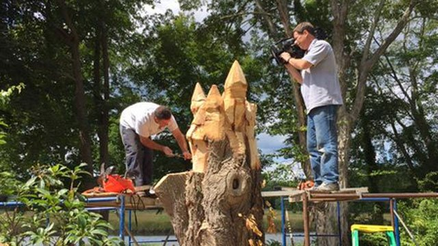 Tree hugger! That's what a super talented artist is making from a piece of wood damaged by Superstorm Sandy. (WFSB)