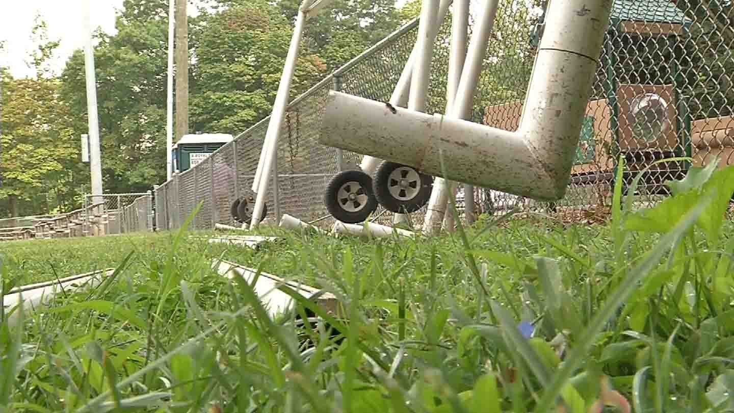 Police are investigating after goal post parts were stolen from a your league in Naugatuck. (WFSB)