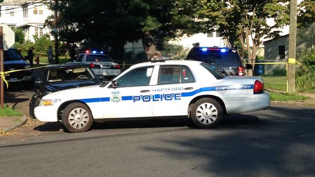 A man was shot in the head on Pershing Street in Hartford Tuesday morning. (WFSB photo)
