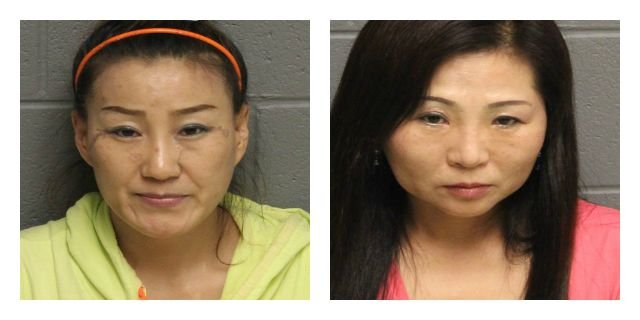 Shunna Zhang and Lan Ying were arrested in connection with prostitution at a day spa. (Monroe Police Department)