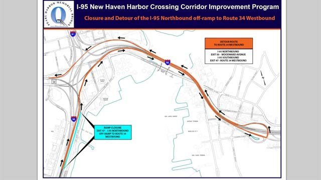 The I-95 northbound off-ramp to the westbound side of Route 34 in New Haven will be closed on Wednesday night into Thursday morning.