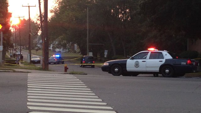 East Hartford police blocked off the commuter lot on Sept. 3 following the assault. (WFSB photo)