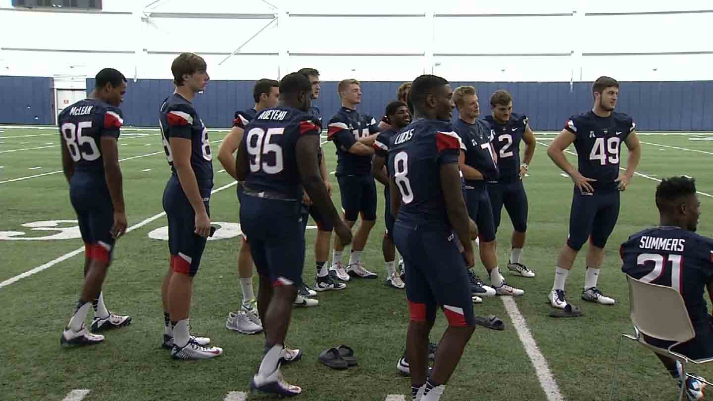 The UConn football team during its media day. (WFSB photo)