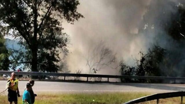 Smoke billowed out after a crash on I-95. (iWitness photo)