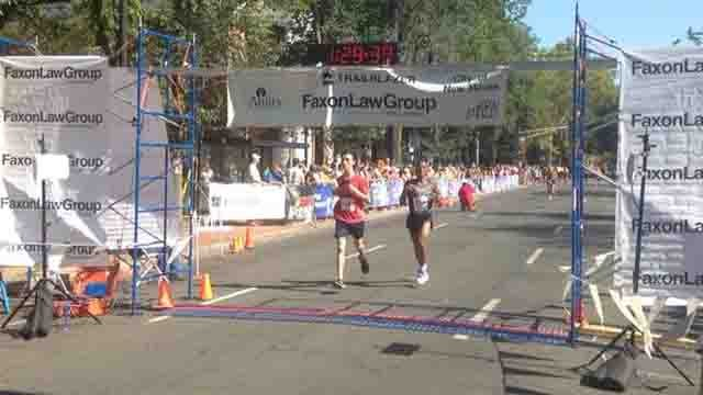 Dozens of people hit the pavement on Labor Day for the 38th annual Faxon Law New Haven Road Race. (WFSB)