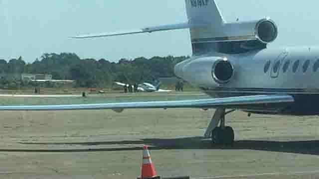 Airplane skids of Sikorsky Memorial runway (Stratford firefighters)