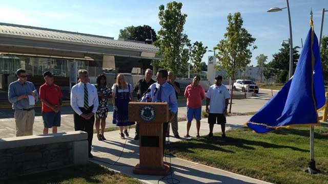 Gov. Dannel Malloy and CT Fastrak celebrated the busway's one millionth ride on Wednesday. (WFSB photo)