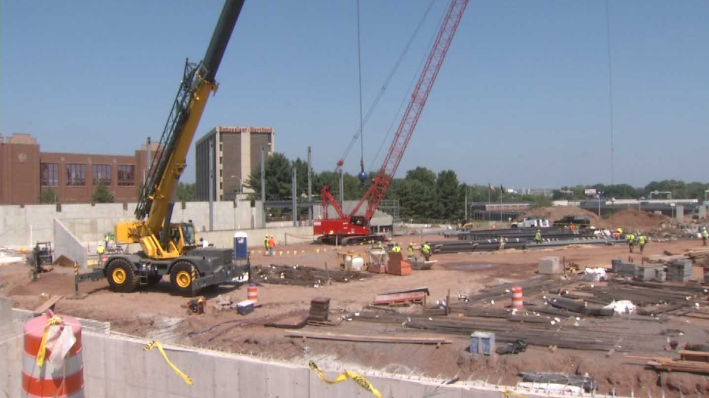 Construction at the stadium where the Hartford Yard Goats will play (WFSB photo)