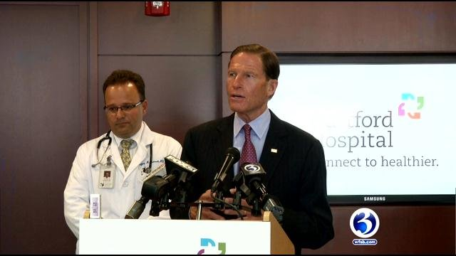 Blumenthal addresses drug shortage in country. (WFSB)