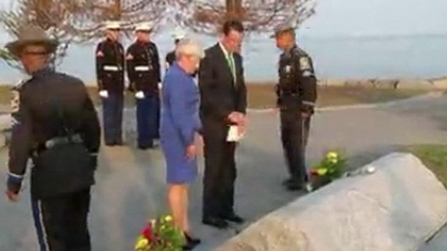 Gov. Dannel Malloy and Lt. Gov Nancy Wyman at a previous memorial ceremony at Sherwood Island State Park. (WFSB file photo)