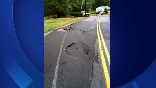 Part of Mullen Hill Road in Waterford is closed for a road collapse (Waterford Police)