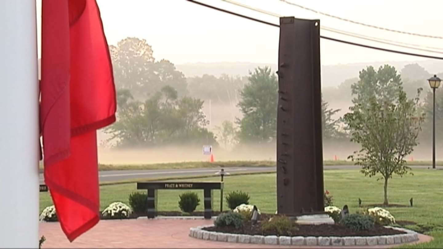 A beam from the second World Trade Center tower is the focal point of the memorial in Middletown. (WFSB file photo)