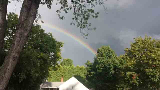 Storms gave way to a beautiful rainbow in Enfield Sunday afternoon (iwitness)