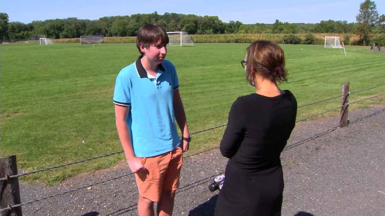 Christian Godoy speaks to Jill Konopka. (WFSB photo)
