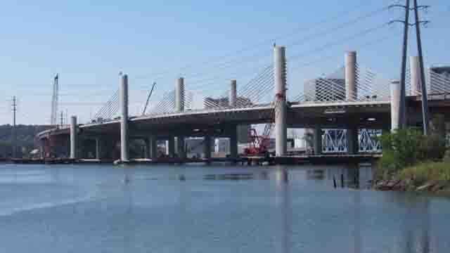 The Pearl Harbor Memorial Bridge, which is also known as the Q Bridge, will be lit up red, white and blue for the Fourth of July. (Gov. Dannel Malloy's office)