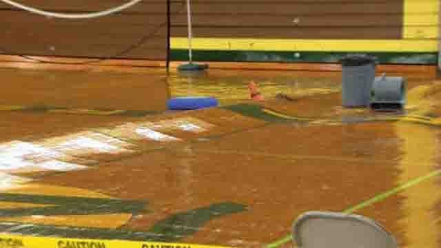 Flooding rain damages New London High School gym (WFSB)
