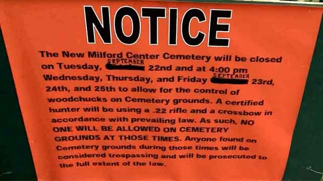 Center Cemetery in New Milford was closed on Tuesday, so hunters could hunt down groundhogs. (WFSB)