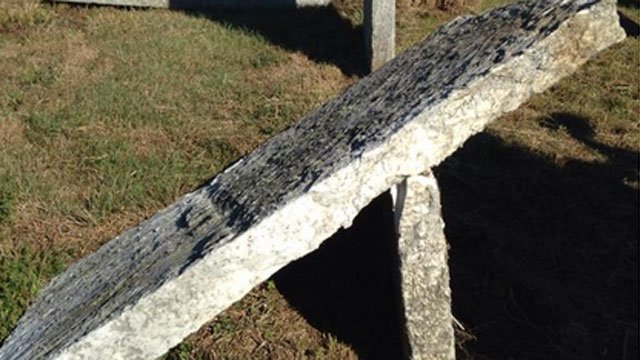 Graves were tipped over at a cemetery in Storrs. (WFSB)