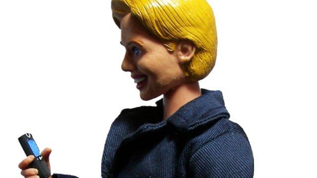 Caption: Hero Builders in Oxford has created a line of Hillary Clinton action figures. (Hero Builders)