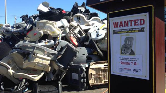 AAA collected more than 2,000 bad car seats during a 2 week roundup. (WFSB photo)