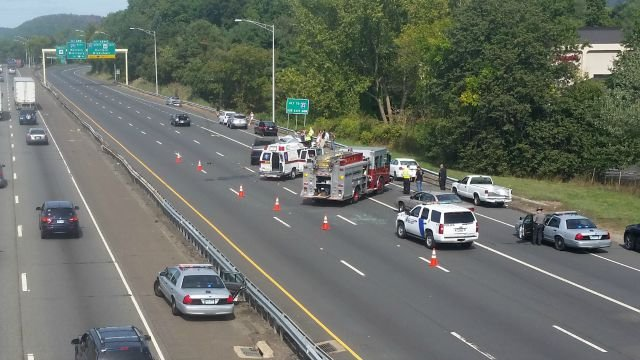 A multiple-vehicle crash closed the northbound side of Route 15 in Meriden. (iWitness viewer)