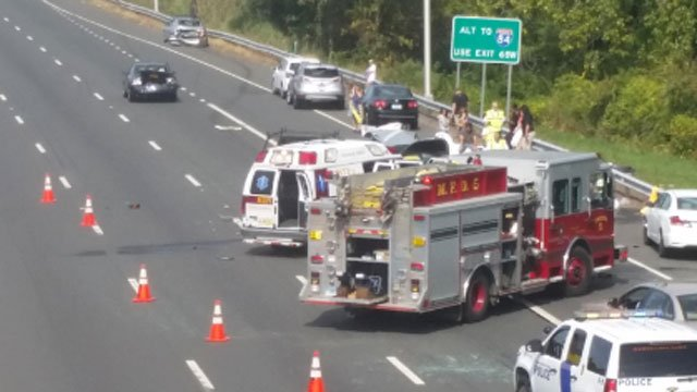 Closer look at the crash on Route 15 in Meriden. (iWitness)