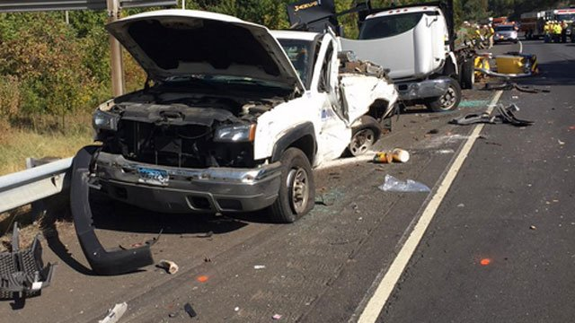 State police tweeted this photo, which shows the damage after a crash on I-91 southbound in Middletown.